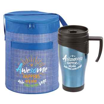 Awesome Happens Only When We Comes Before Me Brookville Barrel Lunch Bag & Easton Handle Mug Combo