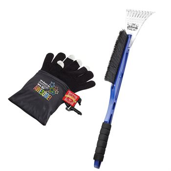 Ice Scraper/Snow Brush & Touchscreen Gloves Recognition Gift Set with Holiday Gift Card and Wrap