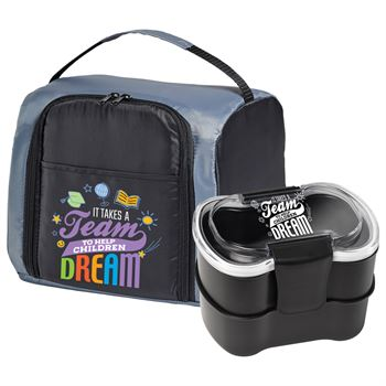 It Takes A Team To Help Children Dream Springfield Lunch/Cooler Bag & 2 Tier Locking Food Containers Combo