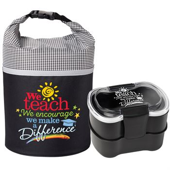 We Teach We Encourage We Make A Difference Bellmore Lunch/Cooler Bag & 2-Tier Food Container Combo