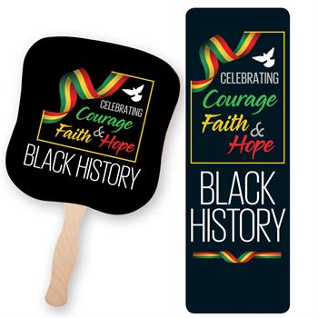 Black History: Celebrating Courage, Faith & Hope 50-Piece Hand Fan & Bible Marker Combo
