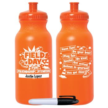 Field Day Fun, Friendship, Fitness Orange Water Bottle 20-Oz. With Permanent Marker - Pack of 10