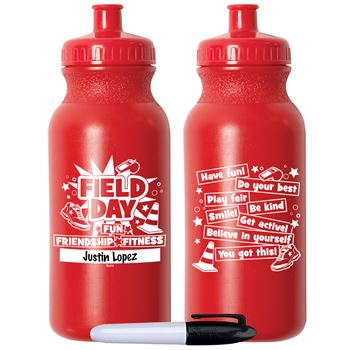 Field Day Fun, Friendship, Fitness Red Water Bottle 20-Oz. With Permanent Marker - Pack of 10