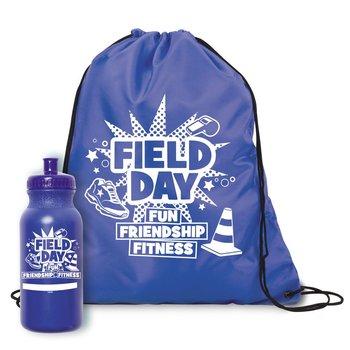 Field Day Fun, Friendship, Fitness Drawstring Backpack & Water Bottle Combo