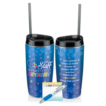 Our Staff Is PAWS-itively Awesome Tumbler, Sticky Pad & Pen Combo Sets