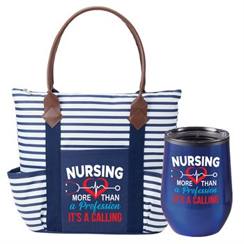 Nursing: More Than A Profession, It's A Calling Nursing Nantucket Tote Bag & Riviera Tumbler Gift Set