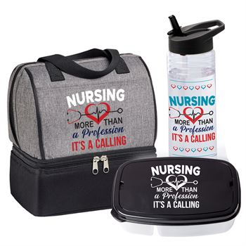 Nursing: More Than A Profession, It's A Calling Nursing Riverton Lunch/Cooler Bag, Solara Water Bottle & 2-Section Food Container Gift Set