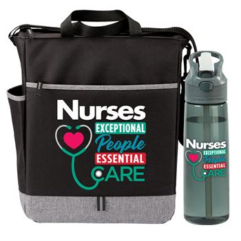 Nurses: Exceptional People, Essential Care Fairfield Tote & Wellness Tritan™ Water Bottle Gift Set