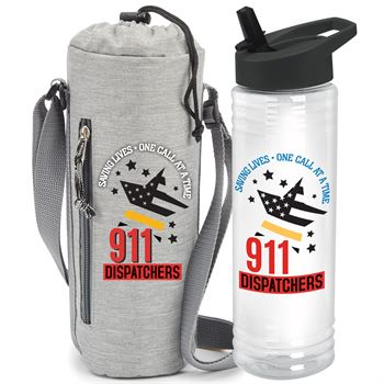 911 Dispatchers Saving Lives One Call At A Time� Solara Water Bottle & Insulated Bottle Cooler Sling Gift Set