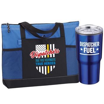Dispatchers: True First Responders, True Heroes Moreno Multi-Pocket Tote & Timber Insulated Tumbler Gift Set
