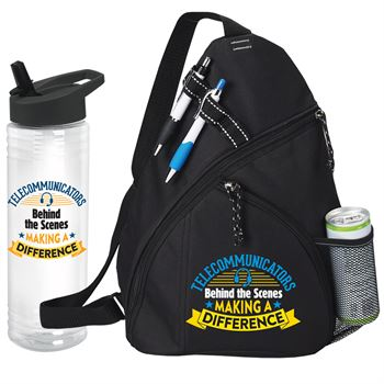 Telecommunicators: Behind The Scenes Making A Difference Westfield Sling Backpack & Solara Water Bottle Gift Set.