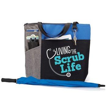 Ashland Tote Bag & Deluxe Umbrella Gift Set