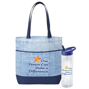 One Person Can Make A Difference Malibu Non-Woven Tote Bag & Solara Water Bottle Gift Set