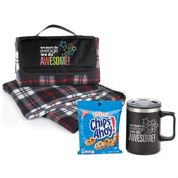 We Don't Do Average We Do Awesome Sonoma Stainless Steel Mug 12-Oz. With Cookies & Plaid Fleece Blanket Gift Set