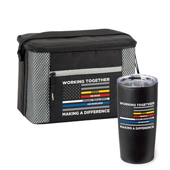 Working Together, Making A Difference Lunch/Cooler Bag and Teton Stainless Steel Tumbler Gift Set