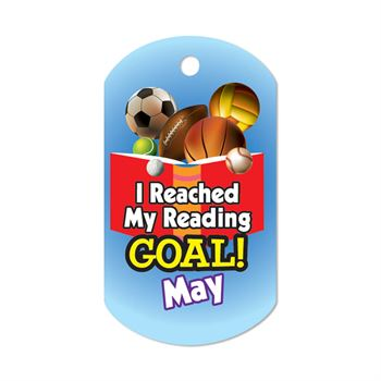 "I Reached My Reading Goal May Award Tags With 24"" Chains - Pack of 25"