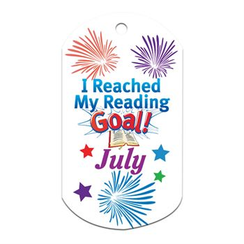 "I Reached My Reading Goal July Award Tag With 4"" Chain"