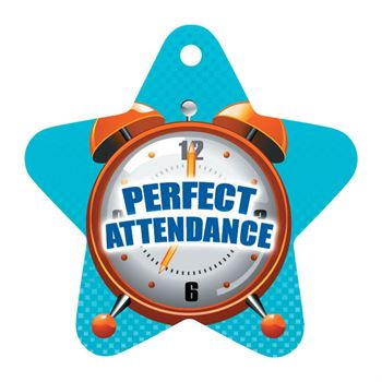 "Perfect Attendance Die-Cut Star With Clock Design Tags With 4"" Chains - Pack of 25"