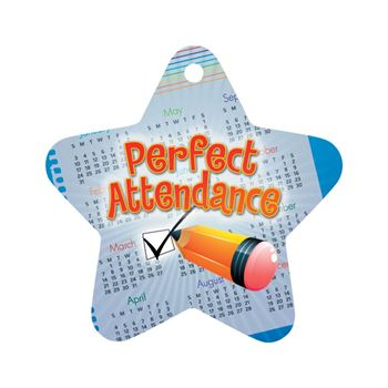 "Perfect Attendance Checkmark Star Award Tags With 4"" Chains - Pack of 25"