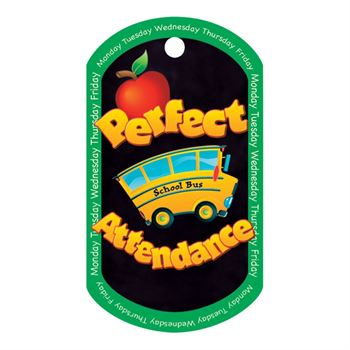 "Perfect Attendance School Bus Design Award Tags With 4"" Chains - Pack of 25"