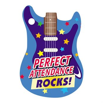 "Perfect Attendance Rocks Award Tag With 4"" Chain"