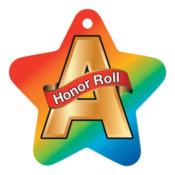 "A Honor Roll Rainbow Star-Shaped Award Tags With 4"" Chains - Pack of 25"