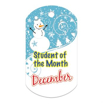 "Student Of The Month December Award Tag With 4"" Chain"