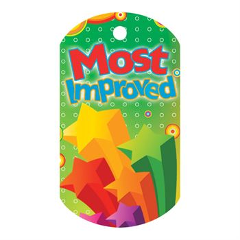 Most Improved Laminated Award Tag With 4