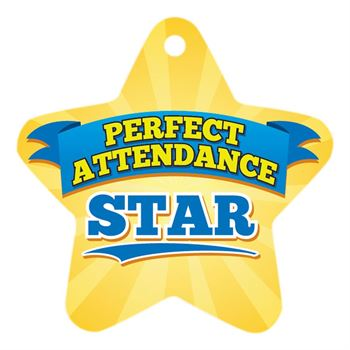"Perfect Attendance Yellow Star Laminated Tags with 4"" Chains - Pack of 25"