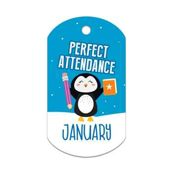 "Perfect Attendance January Laminated Tag With 4"" Beaded Chain"