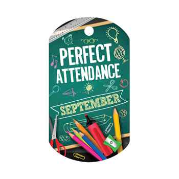 "Perfect Attendance September Laminated Tag With 4"" Chain"