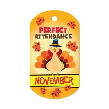 "Perfect Attendance November Laminated Tags With 4"" Chains - Pack of 25"
