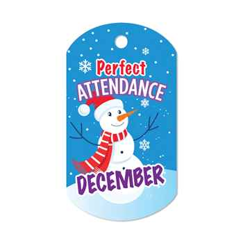 "Perfect Attendance December Laminated Tag With 24"" Chain (Penguin)"