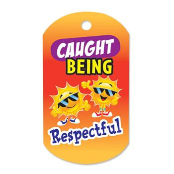 "Caught Being Respectful Award Tag With 4"" Chain (Sun)"