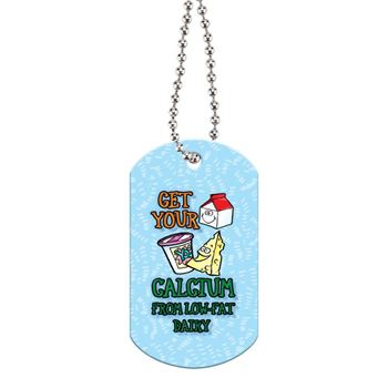"Get Your Calcium From Low-Fat Dairy Laminated Dog Tags With 24"" Chain"