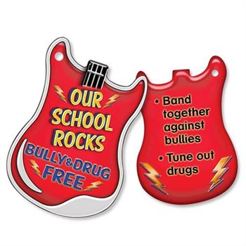 """Our School Rocks Bully & Drug Free Laminated Tag With 24"""" Chain - Pack of 25"""