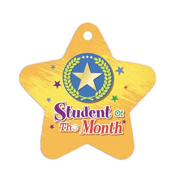"Student Of The Month Star Laminated Award Tags With 24"" Chains - Pack of 25"