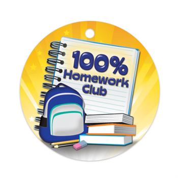 100% Homework Club Laminated Award Tag With 24