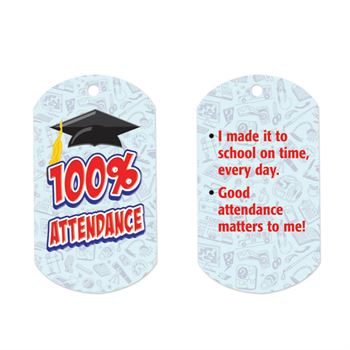 "100% Attendance Laminated Award Tag With 24"" Chain"