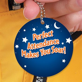 "Perfect Attendance Is My Superpower Laminated Tag With 4"" Chain"
