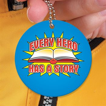 "I Read, What's Your Superpower? Laminated Tag With 24"" Chain"