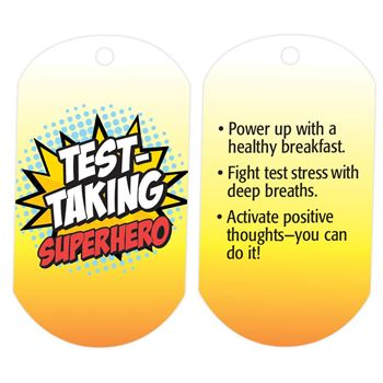 "Test-Taking Superhero Laminated Tags With 4"" Chains - Pack of 25"