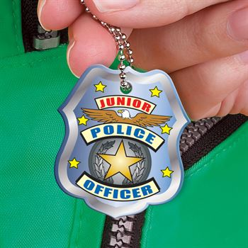 "Junior Police Officer Laminated Tag With 4"" Chain"