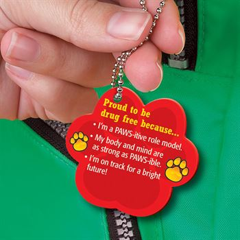 Pawsitively Proud To Be Drug Free Laminated Tag With 24