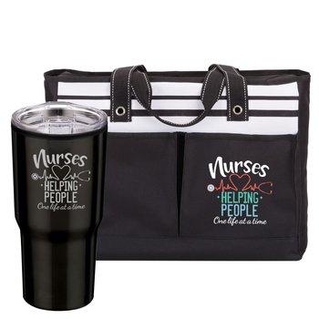 Nurses: Helping People One Life At A Time Ashland Tote & Sierra Tumbler Black Gift Set