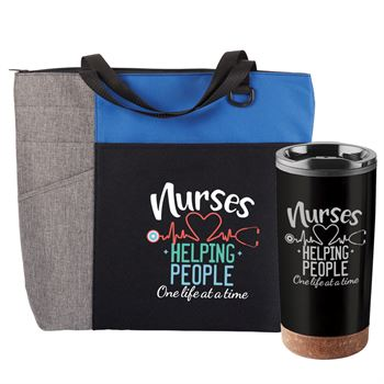 Nurses: Helping People One Life At A Time Blue Ashland Tote & Durango Tumbler Gift Set