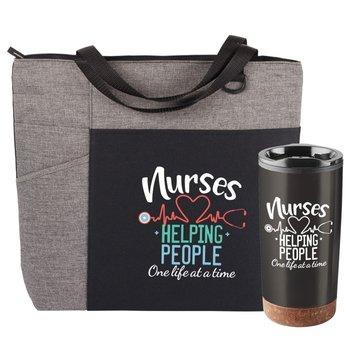 Nurses: Helping People One Life At A Time Gray Ashland Tote & Durango Tumbler Gift Set