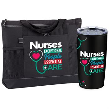 Nurses: Exceptional People, Essential Care Black Moreno Tote Bag And Teton Tumbler Gift Set