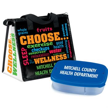 Choose Wellness Insulated Lunch Bag & 2-Section Food Container Gift Combo - Personalization Available