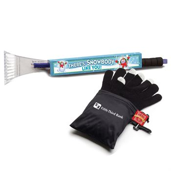 Ice Scraper/Snow Brush & Touchscreen Gloves Gift Set with Holiday Gift Card and Wrap - Personalization Available